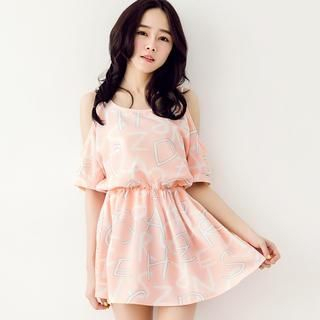 Tokyo Fashion - Cutout-Shoulder Lettering Chiffon Dress
