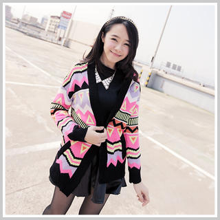 Clair Fashion - Pattern Knit Cardigan