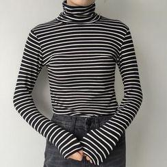 Dute - Turtleneck Striped Long-Sleeve T-Shirt