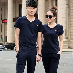 Tabula Rasa - Couple Matching Set: V-neck Short-Sleeve T-shirt + Pants