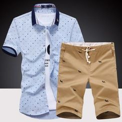 Harvin - Set: Print Short Sleeve Shirt + Drawstring Shorts