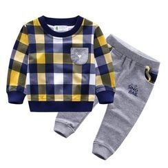 Endymion - Kids Set: Plaid Pullover + Jogger Pants