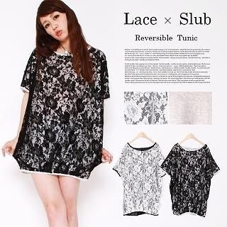 Click Japan - Reversible Lace Loose-Fit Tunic