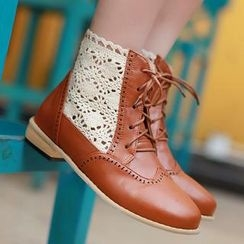 77Queen - Lace-Panel Lace-Up Ankle Boots