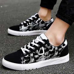 Romantica - Paneled Lace-Up Canvas Sneakers