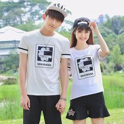 Igsoo - Couple Matching Print Mesh Panel Short-Sleeve T-shirt