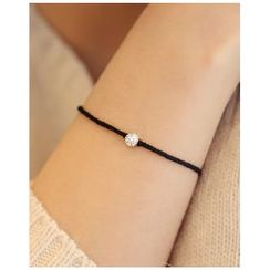 Miss21 Korea - Rhinestone Braided Thread Bracelet