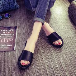 Pangmama - Faux Leather Slide Sandals