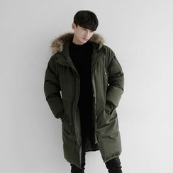 Seoul Homme - Faux-Fur Trim hoodie Duck-Down Parka