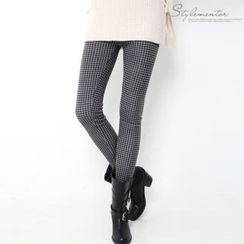 Stylementor - Brushed-Fleece Lined Gingham Leggings