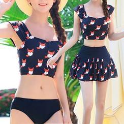 Roseate - 套装: 印花坦基尼 + 泳装外罩