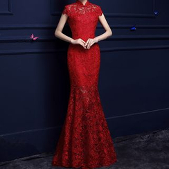 Shannair - Mandarin Collar Lace Mermaid Evening Gown