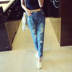 Glen Glam - Cropped Distressed Jeans