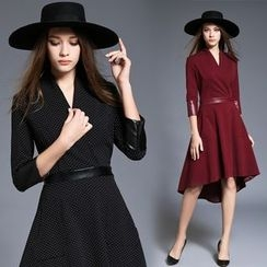 Diosa - 3/4-Sleeve V-Neck A-Line Midi Dress