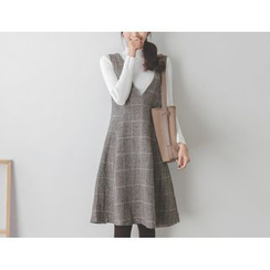 JUSTONE - Plaid Wool Blend Flared Jumper Dress
