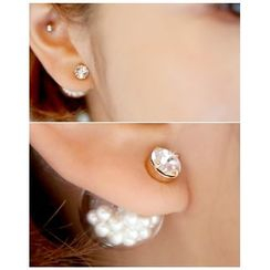 Miss21 Korea - Glass-Ball Stud Earrings (2 Designs)