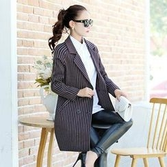Romantica - Notched-Lapel Double-Breasted Striped Trench Coat