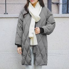 JUSTONE - Collarless Zip-Up Padded Coat