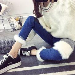 efolin - Patchwork Washed Straight Leg Jeans