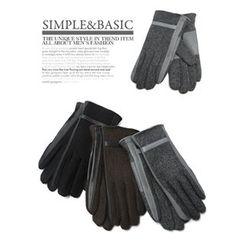 GERIO - Faux-Leather Trim Gloves