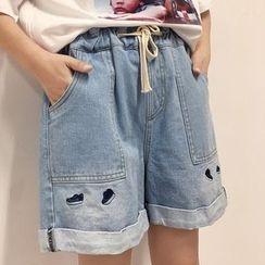 Frontline - 刺繡牛仔短褲