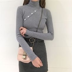 Bloombloom - Plain Mock Neck Long Sleeve Knit Top