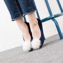 VIVIER - Faux-Fur Velvet Flats