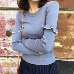 Bloombloom - Frill Trim Long Sleeve Knit Top