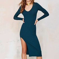 Eloqueen - Long-Sleeve Slit-Side Sheath Dress