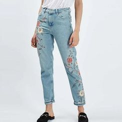 Chicsense - Embroidered Slim-Fit Jeans