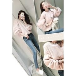 ATTYSTORY - Drop-Shoulder Faux-Fur Sweatshirt