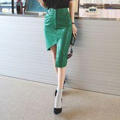 DABAGIRL - Cutout-Hem Coated Pencil Skirt