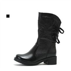 MODELSIS - Genuine Leather Lace-Up Boots(2 Designs)