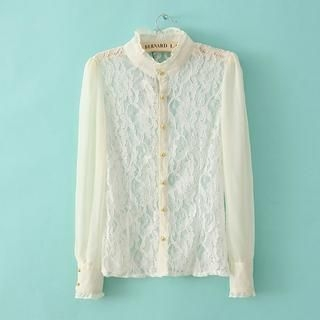 Flower Idea - Lace-Panel Frilled-Neck Chiffon Blouse
