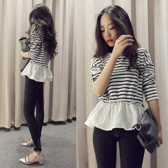 QZ Lady - Peplum Striped Top