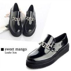 SWEET MANGO - Platform Metallic-Accent Loafers