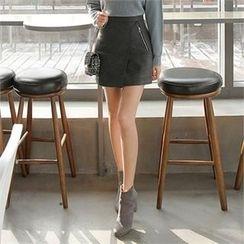 ZIZIBEZIRONG - Inset Inner Shorts Wrap-Front Skirt