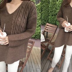 DAILY LOOK - V-Neck Wool Blend Knit Top