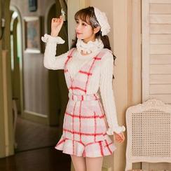Candy Rain - Check Ruffle Hem V-Neck Pinafore Dress