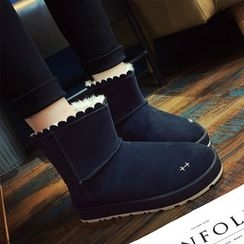 SouthBay Shoes - Scallop Trim Short Snow Boots