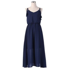 Sentubila - Shoulder Tie Tasseled Midi Chiffon Dress