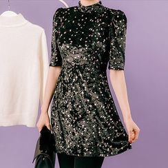 chuu - Short-Sleeve Patterned Velvet Mini Dress