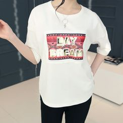 DANI LOVE - Round-Neck Printed T-Shirt