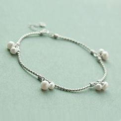 Love Generation - Faux Pearl Segment Sterling Silver Anklet