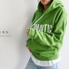 NANING9 - Lettering Hooded Pullover