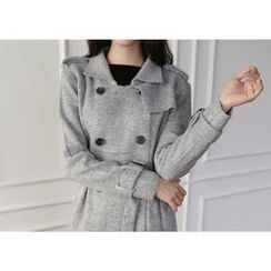Hello sweety - Wool Blend Knit Trench Coat with Sash
