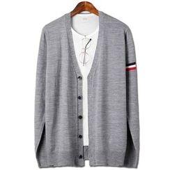 Seoul Homme - Stripe-Trim V-Neck Cardigan