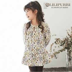 LILIPURRI - Girls Keyhole Floral Mini Dress