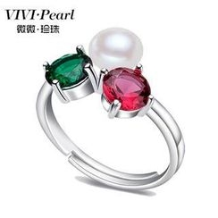 ViVi Pearl - Freshwater Pearl Sterling Silver Embellished Ring