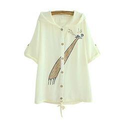 Angel Love - Elbow-Sleeve Hooded Embroidered Light  Jacket